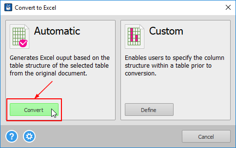 convert to excel dialog convert button