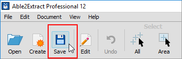 save button on able2extract's toolbar