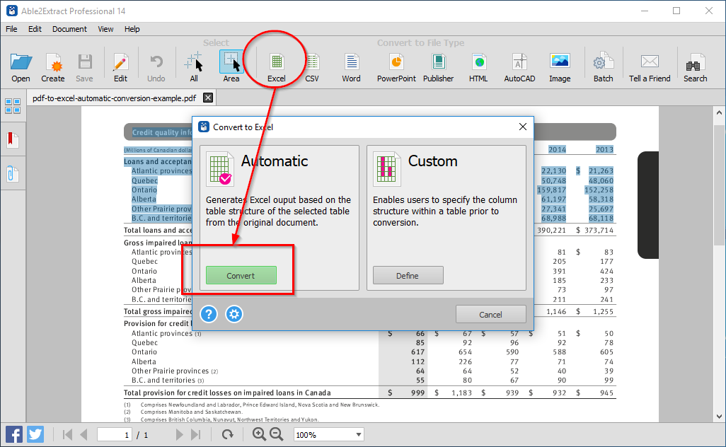 Automatic PDF to Excel conversion