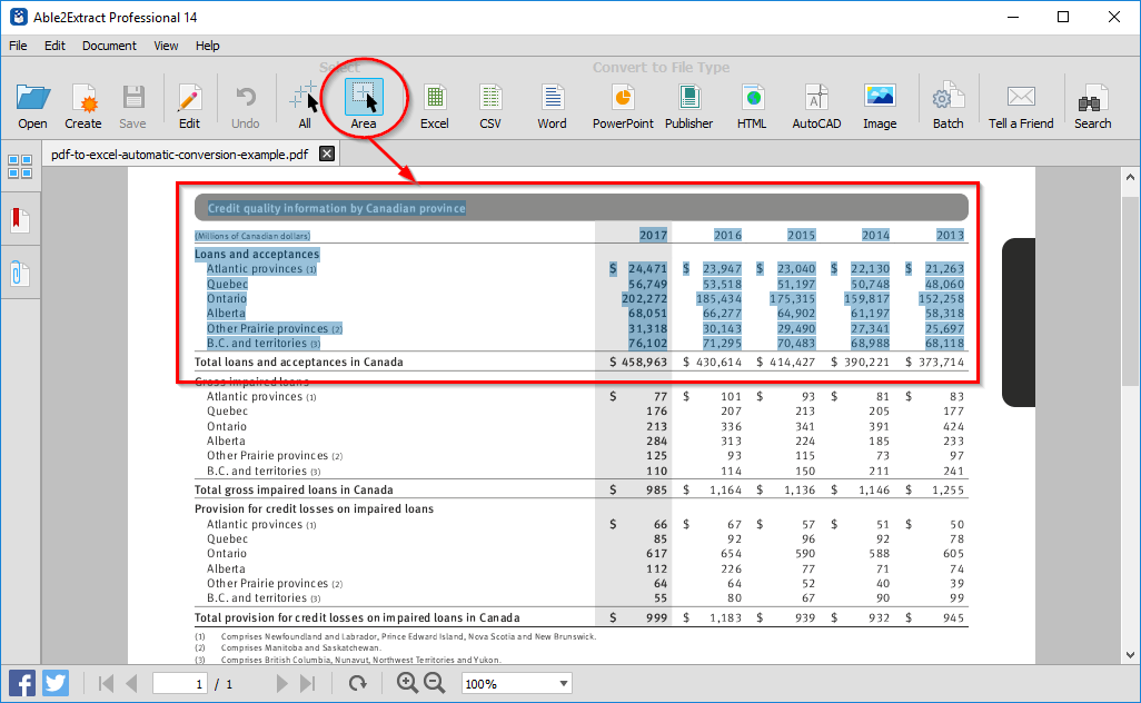 Select what to convert to Excel
