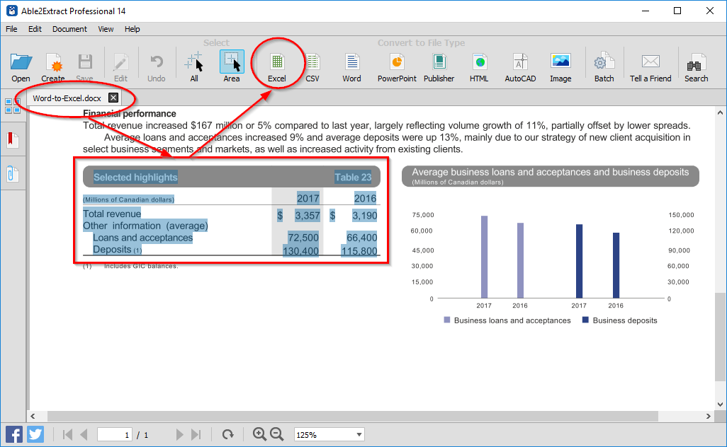 Converting Word data to Excel