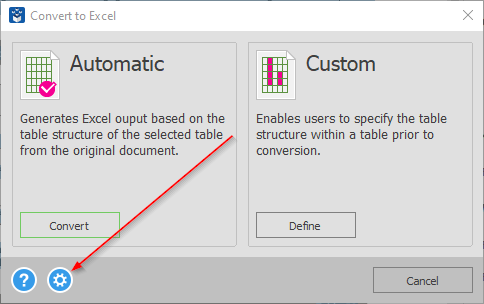 convert to excel dialog -options button