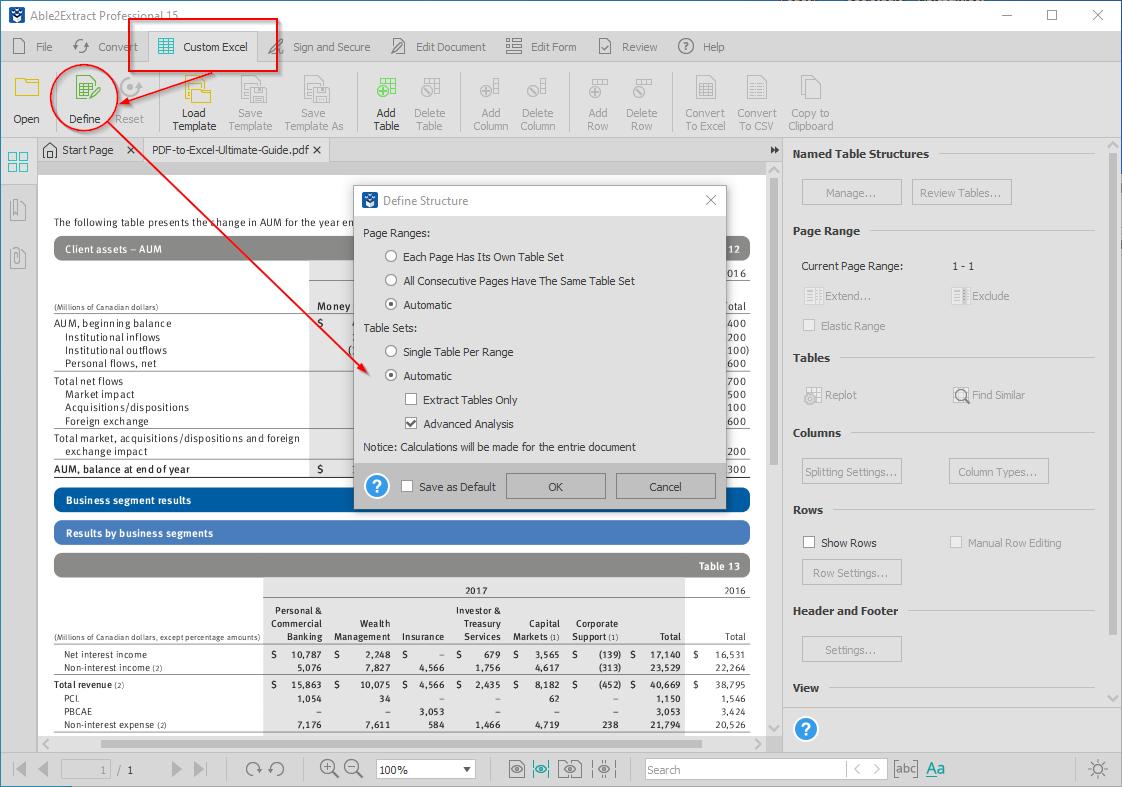Advanced PDF to Excel conversion