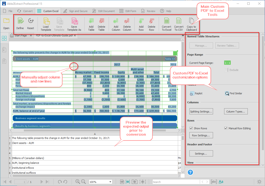PDF to Excel conversion customization