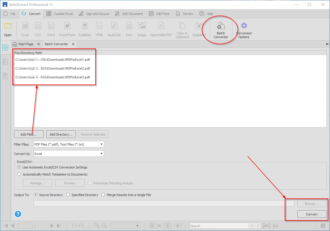 Converting multiple PDFs to Excel at once