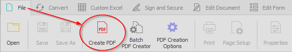 create button on able2extract's toolbar